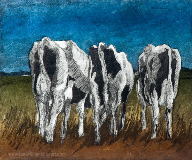 <h2>Cow Butts -Turn the Other Cheek <br />litho chine-colle 14 x 16</h2>