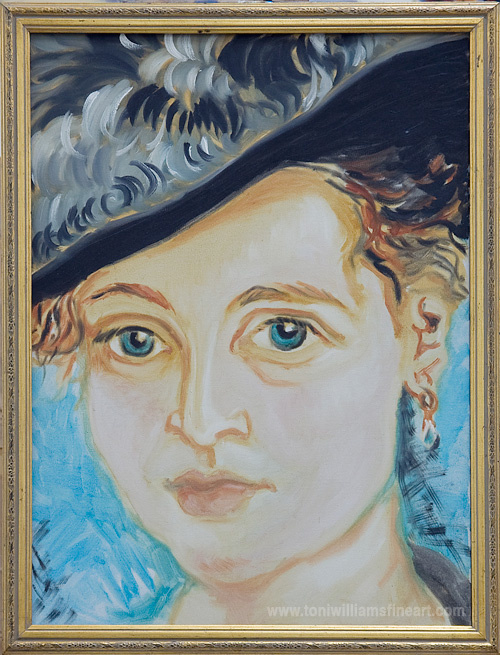 <h2>Girl In Hat Nod to Renoir <br />24 x 30</h2>
