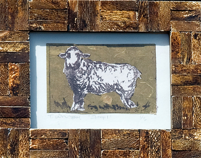 <h2>Sheep #1<br /> litho chine-colle 5 x 7</h2>