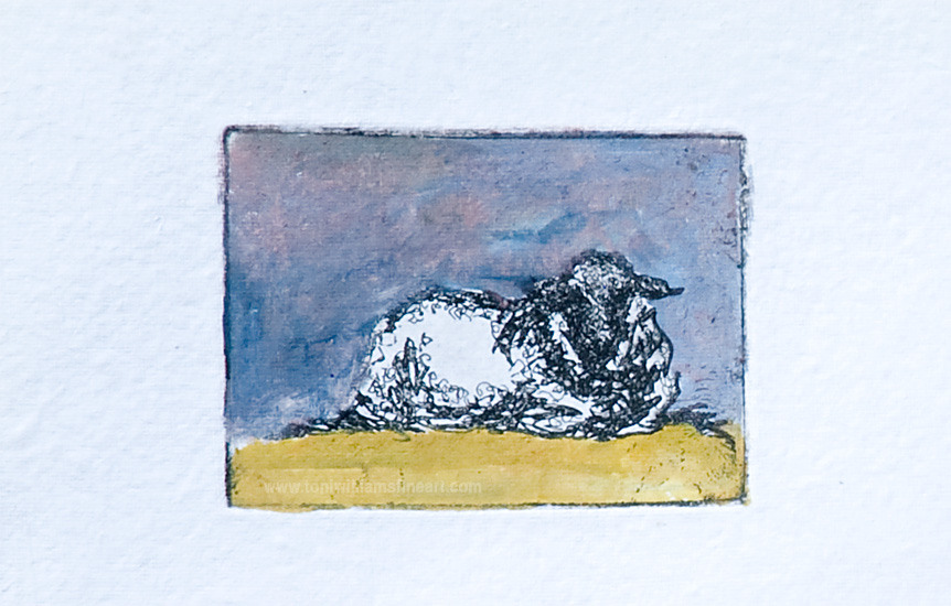 <h2>Sitting Lamb<br /> variated edition-lithography watercolour 3 x 4</h2>