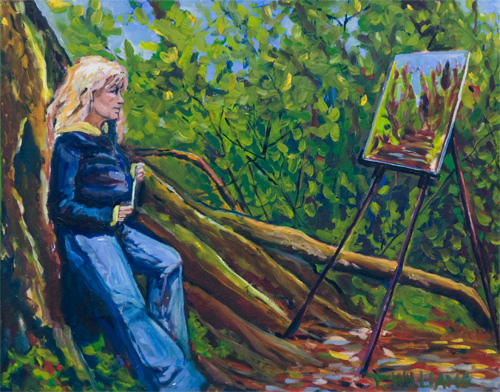 <h2>Self Portrait in Forest <br />24 x 30</h2>