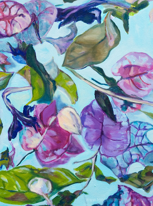 <h2>Beauganvillea on Pond <br />18 x 24</h2>