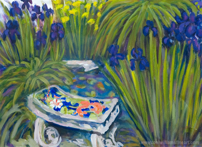 <h2>Bench with Irises <br />18 x 24</h2>