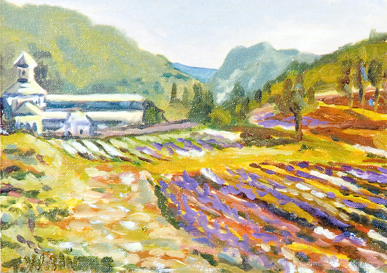 <h2>French Lavendar Field and Monestary <br />8 x 10 board</h2>
