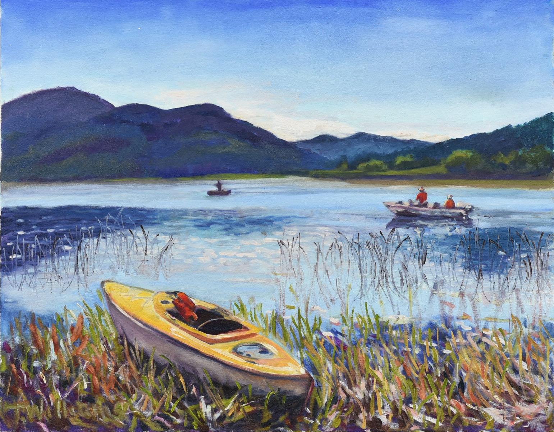 <h2>Kayak And Fisherman Campbell Lake<br />24 x 30</h2>