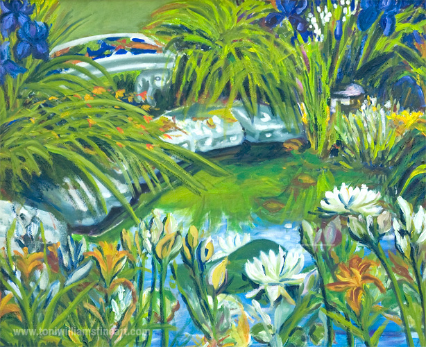 <h2>Pond with Bench and Lillies<br /> 30 x 36</h2>