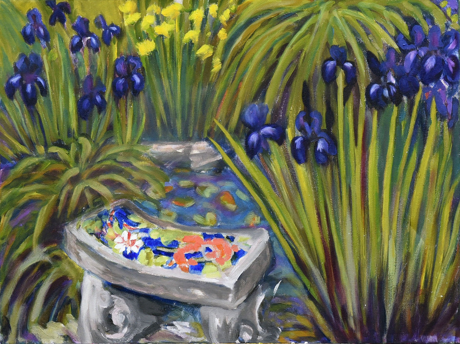 <h2>Pond With Iris  & Daffodils<br />18x24</h2>