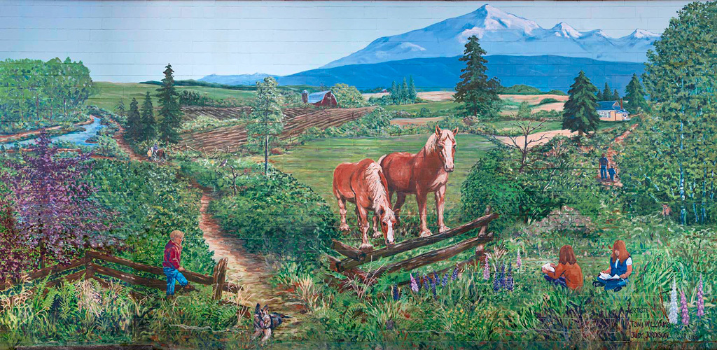 <h2>Mural: The Belgiuns and the Langley Countryside<br />South Carvolth School 10th Ave & 200th St., Langley</h2>