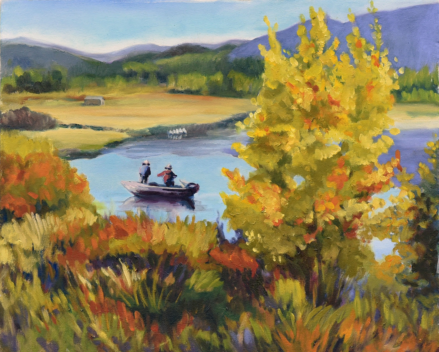 <h2>Pelican Watching Campbell Lake<br />20 x 26</h2>