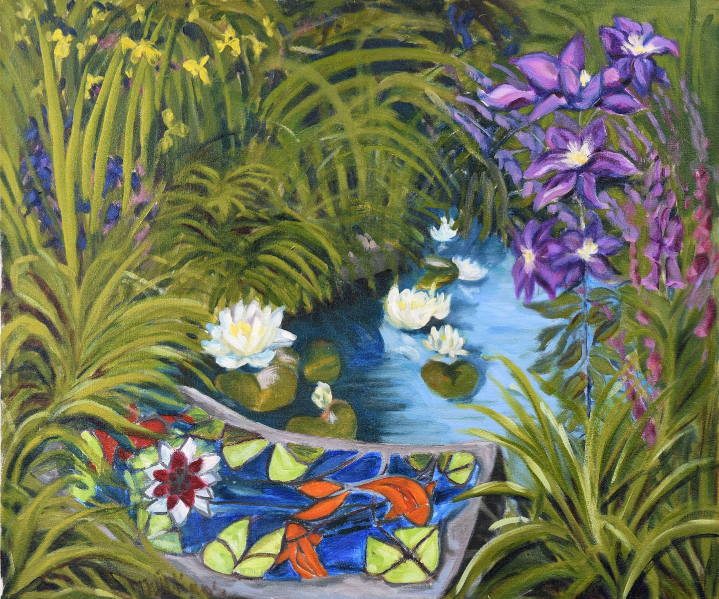 <h2>Water Lilies On Pond<br />30 x 36</h2>