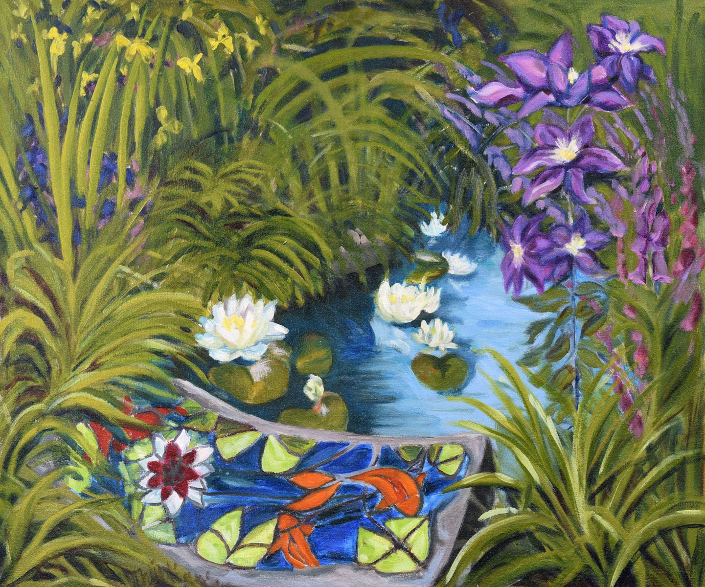 <h2>Pond With Iris & Daffodils<br />18 x 24</h2>