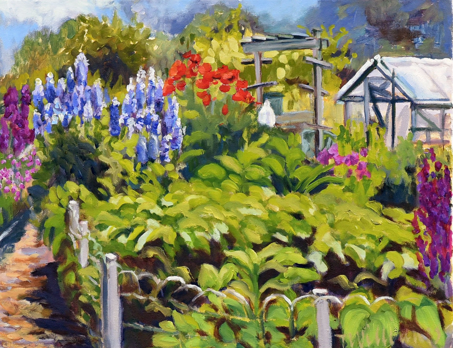 <h2>Poppies And Delphiniums<br />16 x 20</h2>